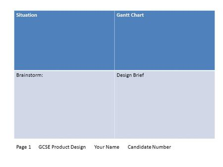 SituationGantt Chart Brainstorm:Design Brief Page 1 GCSE Product DesignYour NameCandidate Number.