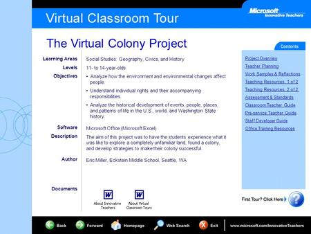 The Virtual Colony Project Project Overview Teacher Planning Work Samples & Reflections Teaching Resources, 1 of 2 Teaching Resources, 2 of 2 Assessment.