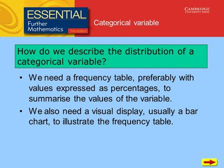 Categorical variable We need a frequency table, preferably with values expressed as percentages, to summarise the values of the variable. We also need.
