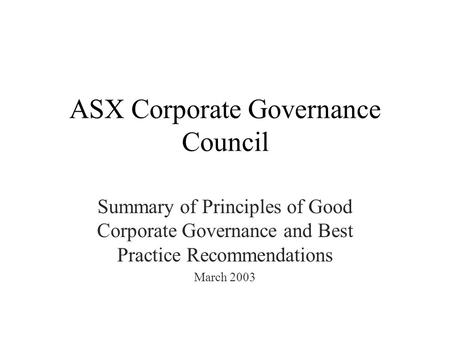 ASX Corporate Governance Council