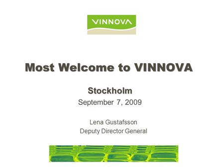 Most Welcome to VINNOVA Lena Gustafsson Deputy Director General Stockholm September 7, 2009.