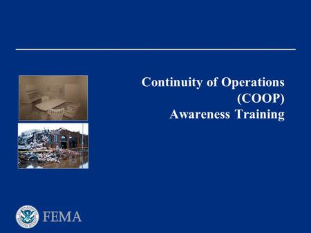 Continuity of Operations (COOP) Awareness Training