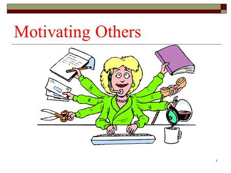 1 Motivating Others. 2 Individual Differences in Motivation  Self-esteem Chronic Situational Socially influenced  Need for achievement  Intrinsic motivation.