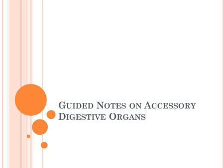 Guided Notes on Accessory Digestive Organs