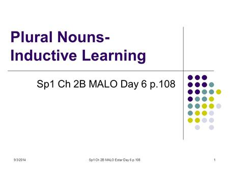 9/3/2014Sp1 Ch 2B MALO Estar Day 6 p.1081 Plural Nouns- Inductive Learning Sp1 Ch 2B MALO Day 6 p.108.