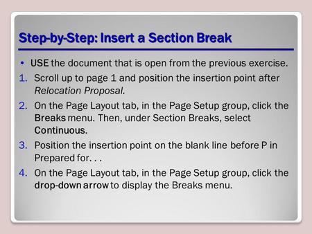 Step-by-Step: Insert a Section Break