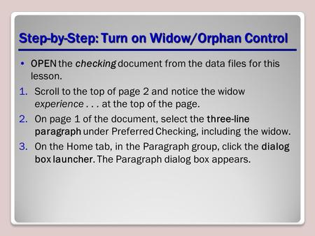 Step-by-Step: Turn on Widow/Orphan Control