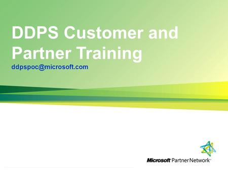 DDPS Customer and Partner Training