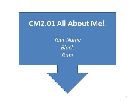 Your Name Block Date CM2.01 All About Me! 1. UNITA: Personal/Social Development Competency CM02.00: Evaluate positive interpersonal skills in a variety.