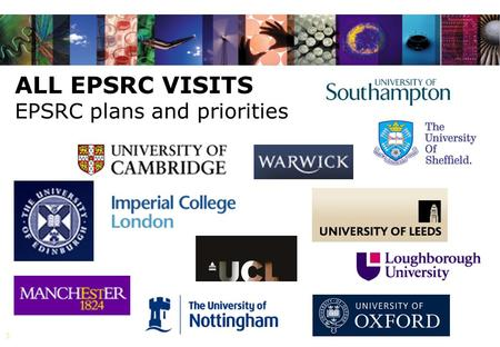 1 ALL EPSRC VISITS EPSRC plans and priorities. 2 DIGITAL ECONOMY EPSRC lead AHRC ESRC MRC ENERGY EPSRC lead BBSRC ESRC NERC STFC NANOSCIENCE THROUGH ENGINEERING.