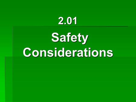 2.01 Safety Considerations