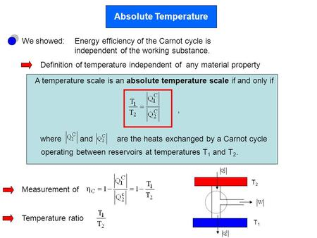 Absolute Temperature We showed:Energy efficiency of the Carnot cycle is independent of the working substance. Definition of temperature independent of.