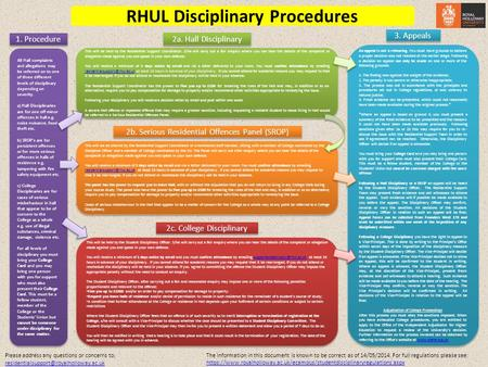 2b. Serious Residential Offences Panel (SROP) RHUL Disciplinary Procedures 2a. Hall Disciplinary This will be held by the Residential Support Coordinator.