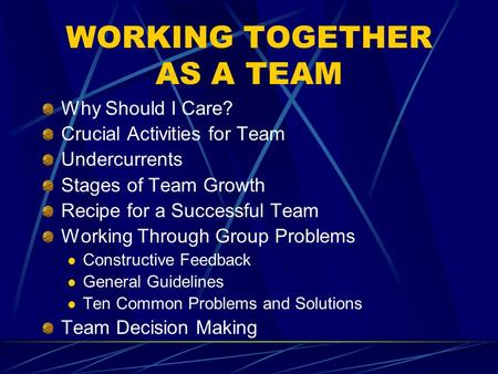 WORKING TOGETHER AS A TEAM Why Should I Care? Crucial Activities for Team Undercurrents Stages of Team Growth Recipe for a Successful Team Working Through.