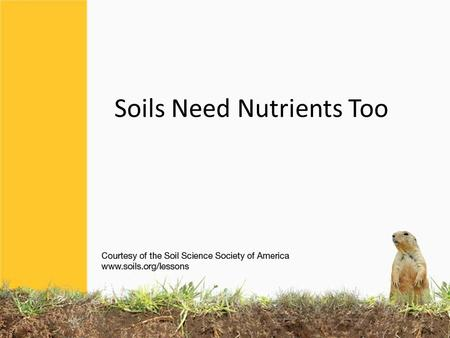 Soils Need Nutrients Too. KEEPING SOILS FIT Most soils have a large supply of nutrients. But when soils are continually used for growing food, nutrients.