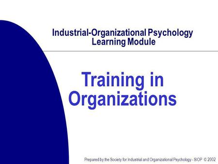 Prepared by the Society for Industrial and Organizational Psychology - SIOP © 2002 Industrial-Organizational Psychology Learning Module Training in Organizations.