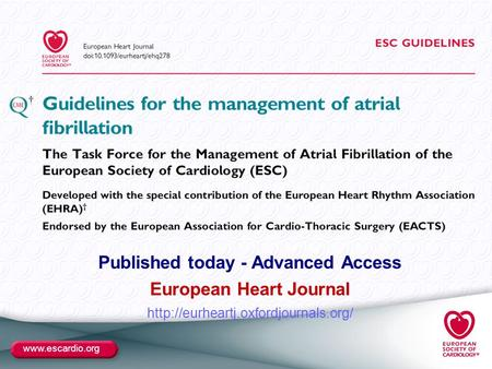 Published today - Advanced Access European Heart Journal