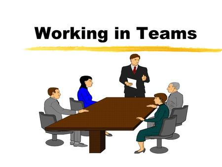 Working in Teams. Objectives z Be able to define team structure z Develop a team process z Learn about team culture.