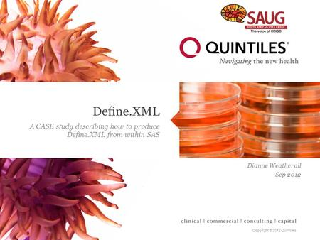 Copyright © 2012 Quintiles Define.XML A CASE study describing how to produce Define.XML from within SAS Dianne Weatherall Sep 2012.