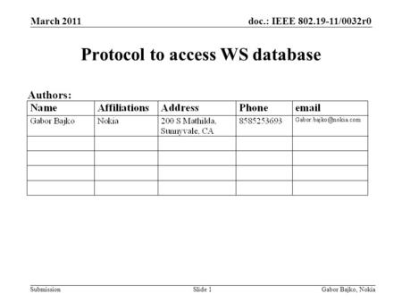 Doc.: IEEE 802.19-11/0032r0 Submission March 2011 Gabor Bajko, NokiaSlide 1 Protocol to access WS database Authors: