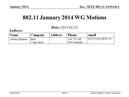 Doc.: IEEE 802.11-14/0144r3 Submission January 2014 Adrian Stephens, Intel CorporationSlide 1 802.11 January 2014 WG Motions Date: 2014-01-24 Authors: