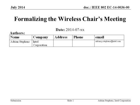 Doc.: IEEE 802 EC-14-0036-00 Submission July 2014 Adrian Stephens, Intel CorporationSlide 1 Formalizing the Wireless Chair's Meeting Date: 2014-07-xx Authors: