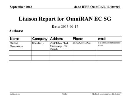 Doc.: IEEE OmniRAN-13/0069r0 Submission September 2013 Michael Montemurro, BlackBerrySlide 1 Liaison Report for OmniRAN EC SG Date: 2013-09-17 Authors: