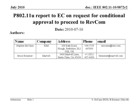 Doc.: IEEE 802.11-10/0872r2 Submission July 2010 S. McCann (RIM), B.Kraemer (Marvell) Slide 1 P802.11u report to EC on request for conditional approval.