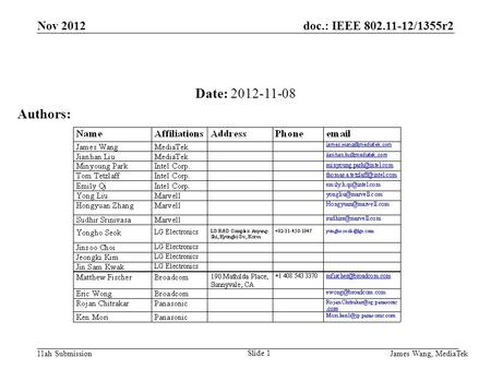Doc.: IEEE 802.11-12/1355r2 11ah Submission Date: 2012-11-08 Authors: Nov 2012 James Wang, MediaTek Slide 1.