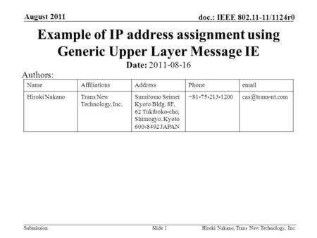 Submission doc.: IEEE 802.11-11/1124r0 August 2011 Hiroki Nakano, Trans New Technology, Inc.Slide 1 Example of IP address assignment using Generic Upper.