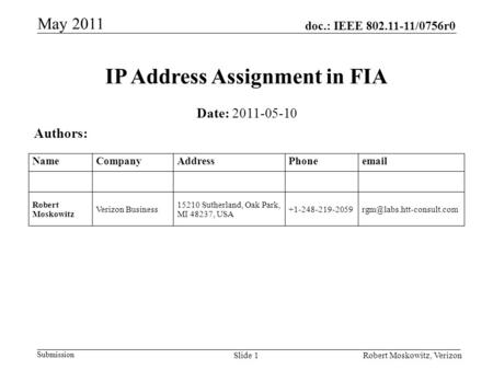 Doc.: IEEE 802.11-11/0756r0 Submission May 2011 Robert Moskowitz, VerizonSlide 1 IP Address Assignment in FIA Date: 2011-05-10 Authors: NameCompanyAddressPhoneemail.