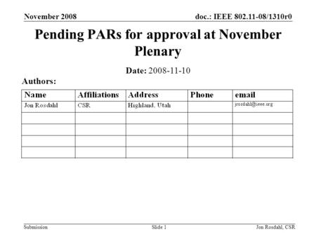 Doc.: IEEE 802.11-08/1310r0 Submission November 2008 Jon Rosdahl, CSRSlide 1 Pending PARs for approval at November Plenary Date: 2008-11-10 Authors: