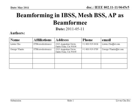 Doc.: IEEE 802.11-11/0645r5 SubmissionLiwen Chu Etc.Slide 1 Beamforming in IBSS, Mesh BSS, AP as Beamformee Date: 2011-05-11 Authors: Date: May 2011.