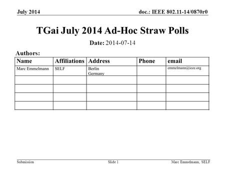 Doc.: IEEE 802.11-14/0870r0 Submission July 2014 Marc Emmelmann, SELFSlide 1 TGai July 2014 Ad-Hoc Straw Polls Date: 2014-07-14 Authors: