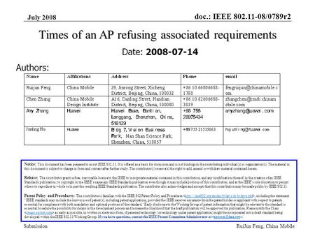 Doc.: IEEE 802.11-08/0789r2 Submission July 2008 RuiJun Feng, China Mobile Times of an AP refusing associated requirements Date: 2008-07-14 Authors: Notice: