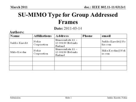 Doc.: IEEE 802.11-11/0313r1 Submission March 2011 Jarkko Kneckt, NokiaSlide 1 SU-MIMO Type for Group Addressed Frames Date: 2011-03-14 Authors: