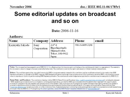 Doc.: IEEE 802.11-06/1785r1 Submission November 2006 Kazuyuki SakodaSlide 1 Some editorial updates on broadcast and so on Notice: This document has been.