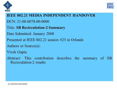 21-08-0014-00-0000 IEEE 802.21 MEDIA INDEPENDENT HANDOVER DCN: 21-08-0078-00-0000 Title: SB Recirculation-2 Summary Date Submitted: January 2008 Presented.