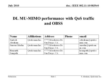 Doc.: IEEE 802.11-10/0839r0 Submission Slide 1S. Abraham, Qualcomm Inc. July 2010 DL MU-MIMO performance with QoS traffic and OBSS.
