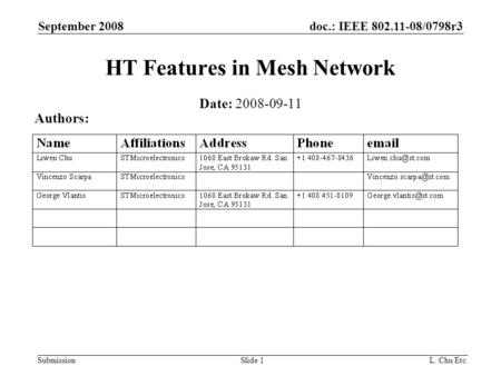 Doc.: IEEE 802.11-08/0798r3 Submission September 2008 L. Chu Etc.Slide 1 HT Features in Mesh Network Date: 2008-09-11 Authors: