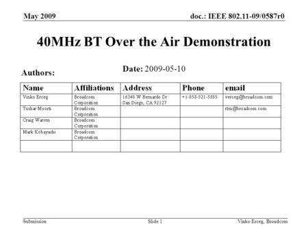 Doc.: IEEE 802.11-09/0587r0 Submission May 2009 Vinko Erceg, BroadcomSlide 1 40MHz BT Over the Air Demonstration Date: 2009-05-10 Authors: