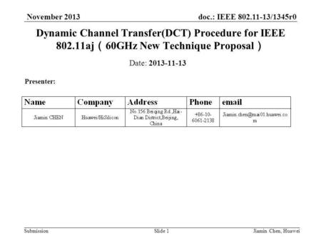 Doc.: IEEE 802.11-13/1345r0 Submission November 2013 Jiamin Chen, HuaweiSlide 1 Dynamic Channel Transfer(DCT) Procedure for IEEE 802.11aj ( 60GHz New Technique.