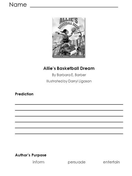 ALLIE S BASKETBALL DREAM VOCABULARY REVIEW Aimed Backboard