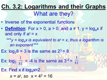 Ch. 3.2: Logarithms and their Graphs What are they?