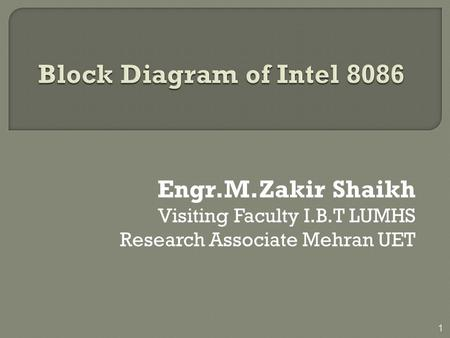 Block Diagram of Intel 8086 Engr.M.Zakir Shaikh
