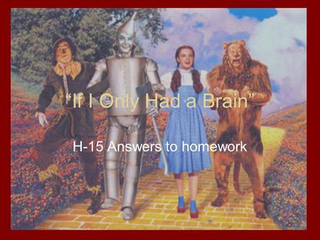 """If I Only Had a Brain"" H-15 Answers to homework."
