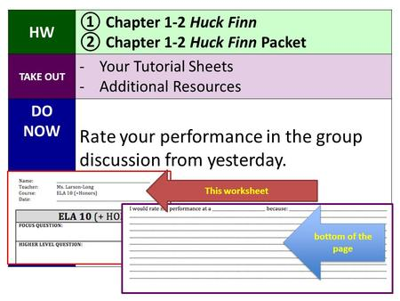 HW ① Chapter 1-2 Huck Finn ② Chapter 1-2 Huck Finn Packet TAKE OUT -Your Tutorial Sheets -Additional Resources DO NOW Rate your performance in the group.