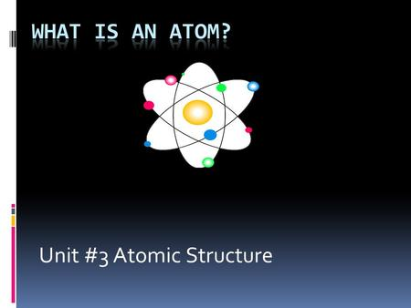 Unit #3 Atomic Structure