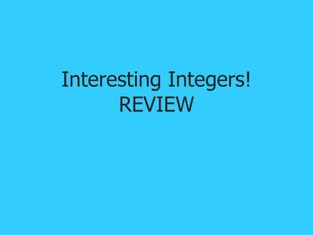Mathematics Class VII Chapter 1 Integers  - ppt video online download