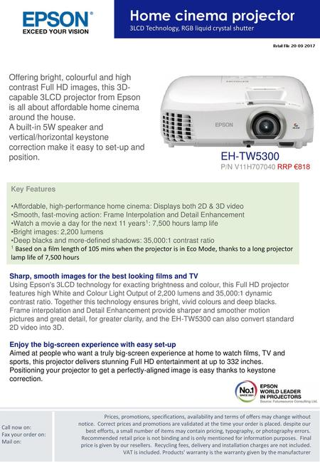 A BRIGHT, CLEAR AND FEATURE RICH PROJECTOR RANGE FROM THE